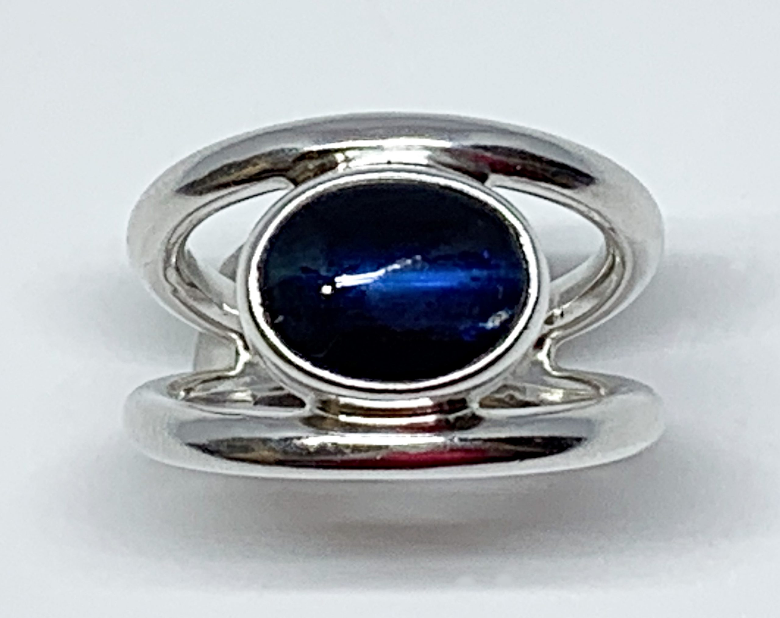 4.5ct blue kyanite + sterling silver ring by A&R Jewellery | Effusion Art Gallery + Cast Glass Studio, Invermere BC