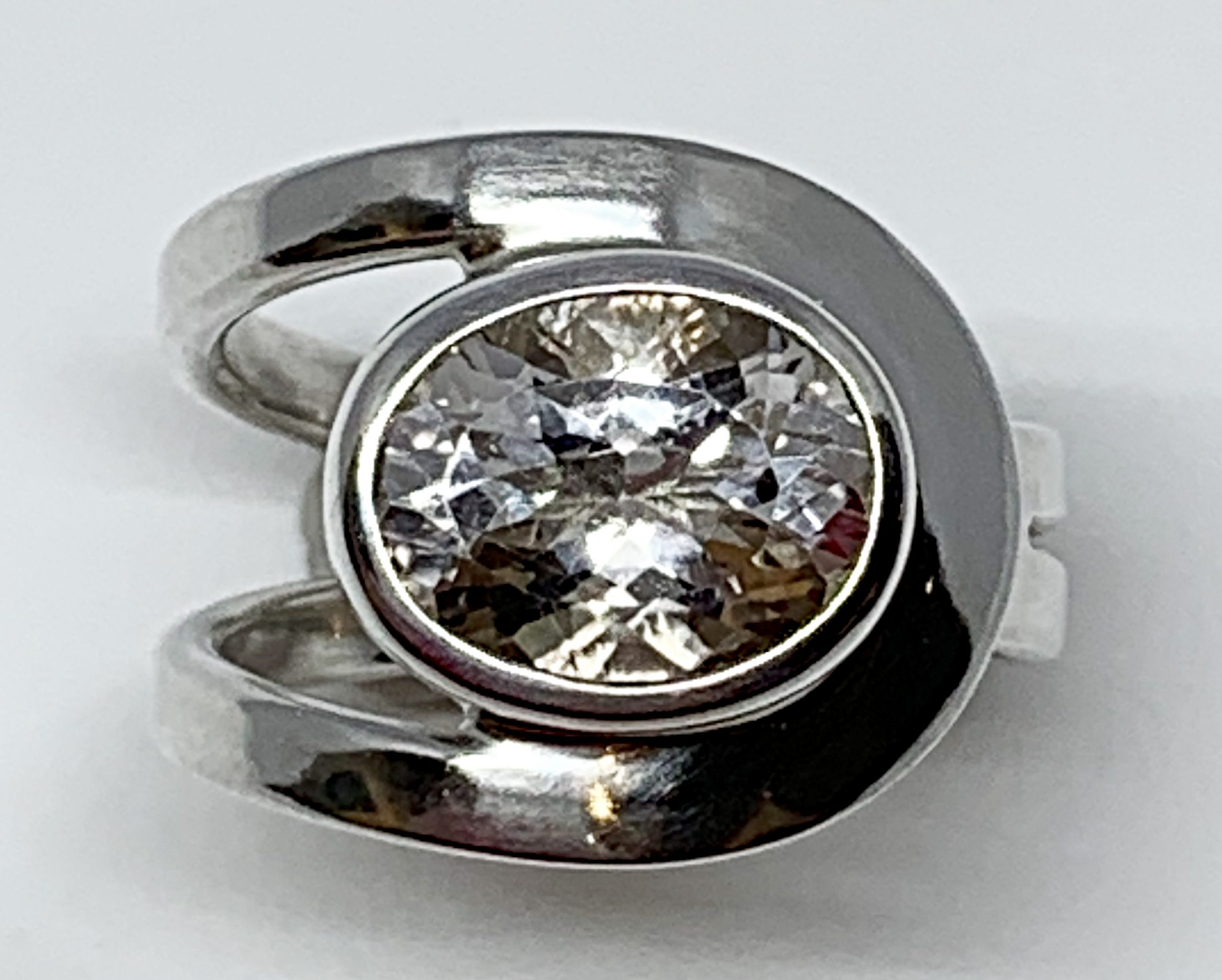 3.5ct white topaz + sterling silver ring by A&R Jewellery | Effusion Art Gallery + Cast Glass Studio, Invermere BC