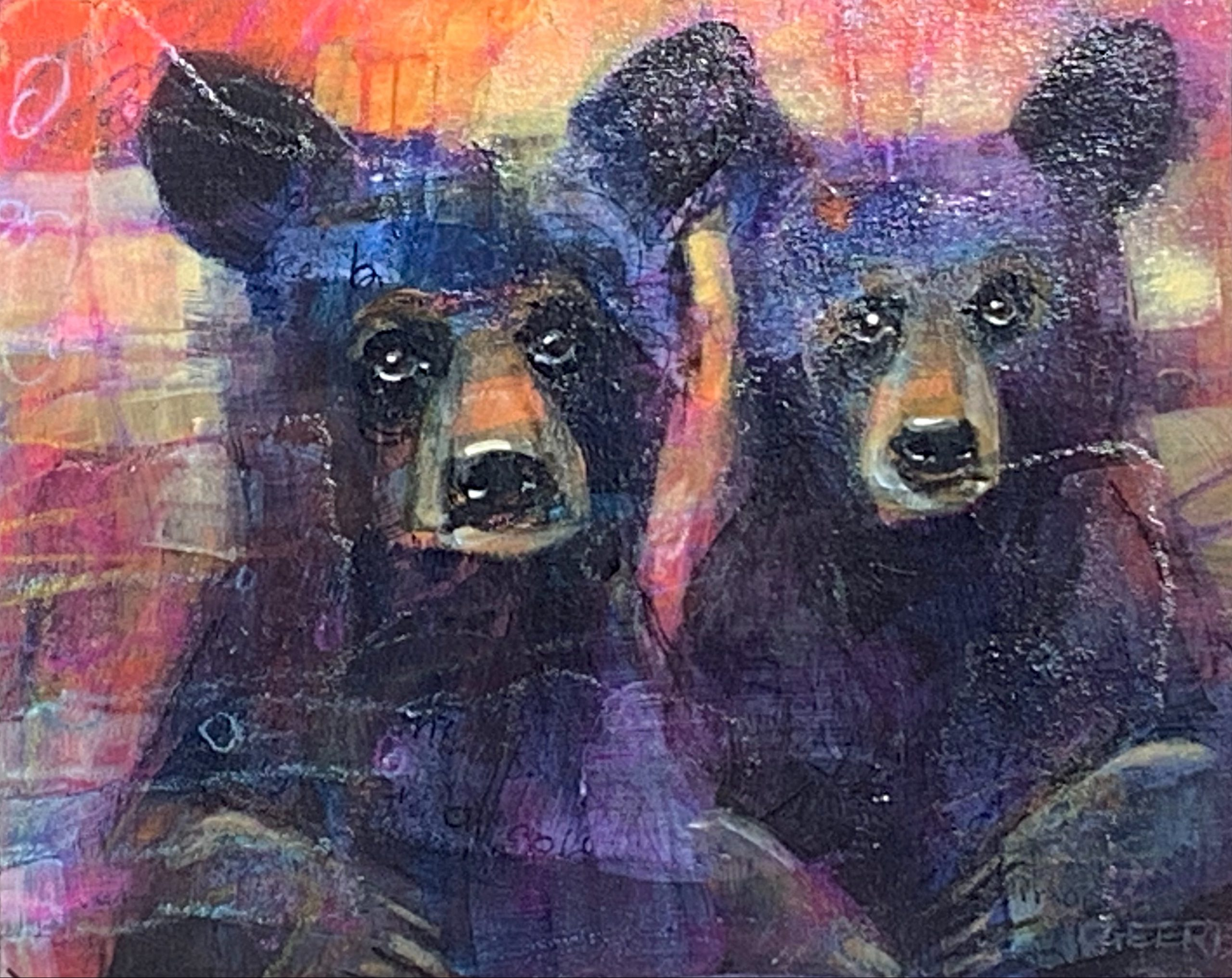 Brothers, mixed media bear cub painting by Connie Geerts   Effusion Art Gallery + Cast Glass Studio, Invermere BC