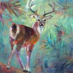 Buck on the Path, mixed media deer painting by Connie Geerts   Effusion Art Gallery + Cast Glass Studio, Invermere BC