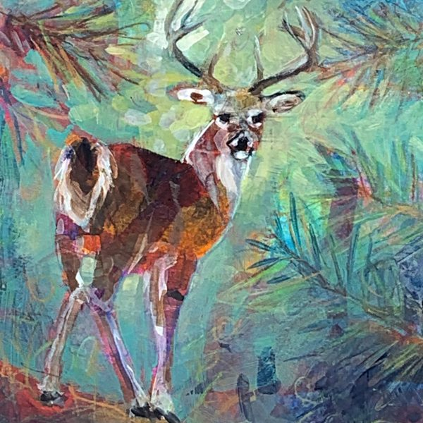 Buck on the Path, mixed media deer painting by Connie Geerts | Effusion Art Gallery + Cast Glass Studio, Invermere BC