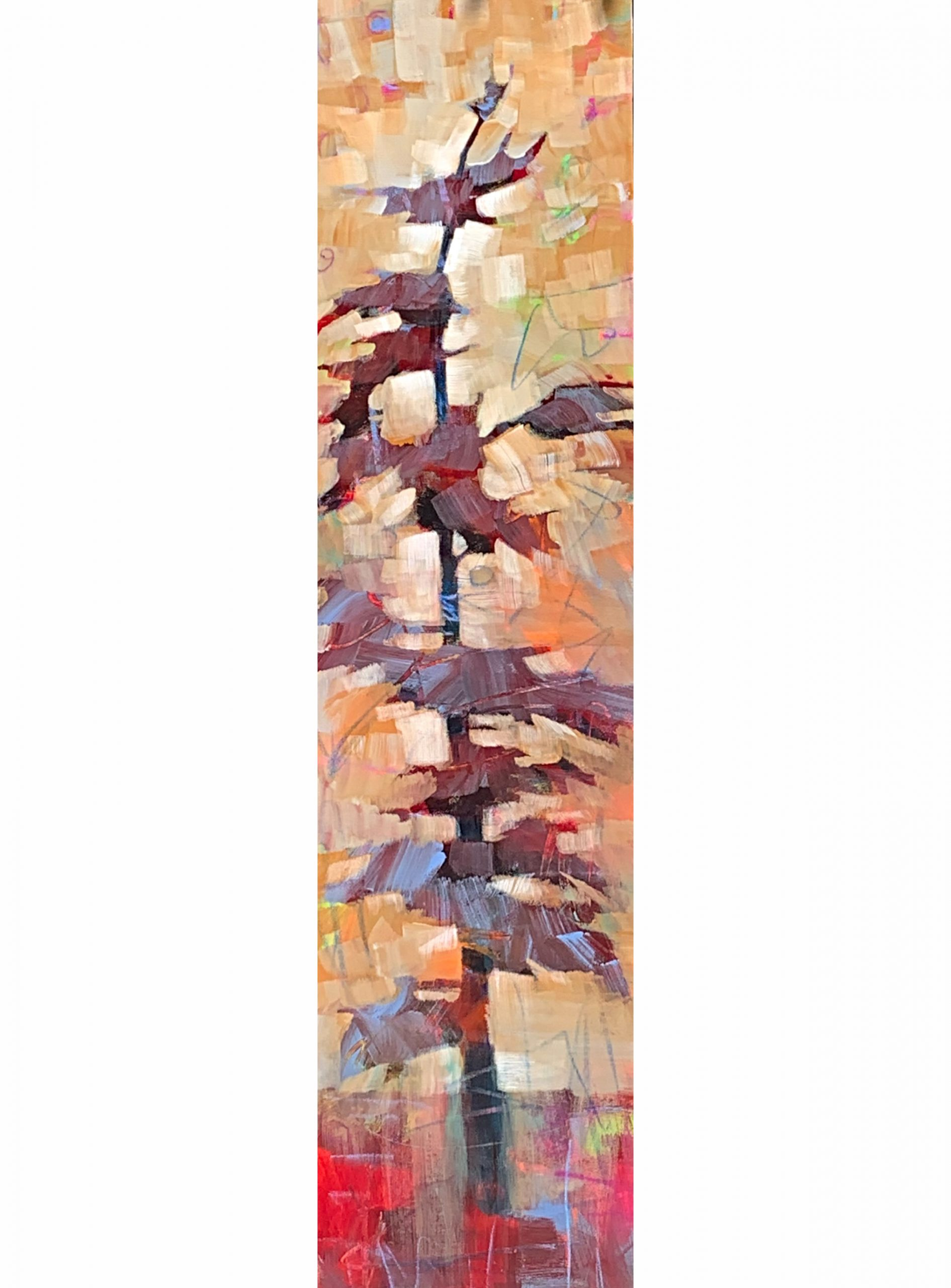 Coming Change II, mixed media tree painting by Connie Geerts | Effusion Art Gallery + Cast Glass Studio, Invermere BC