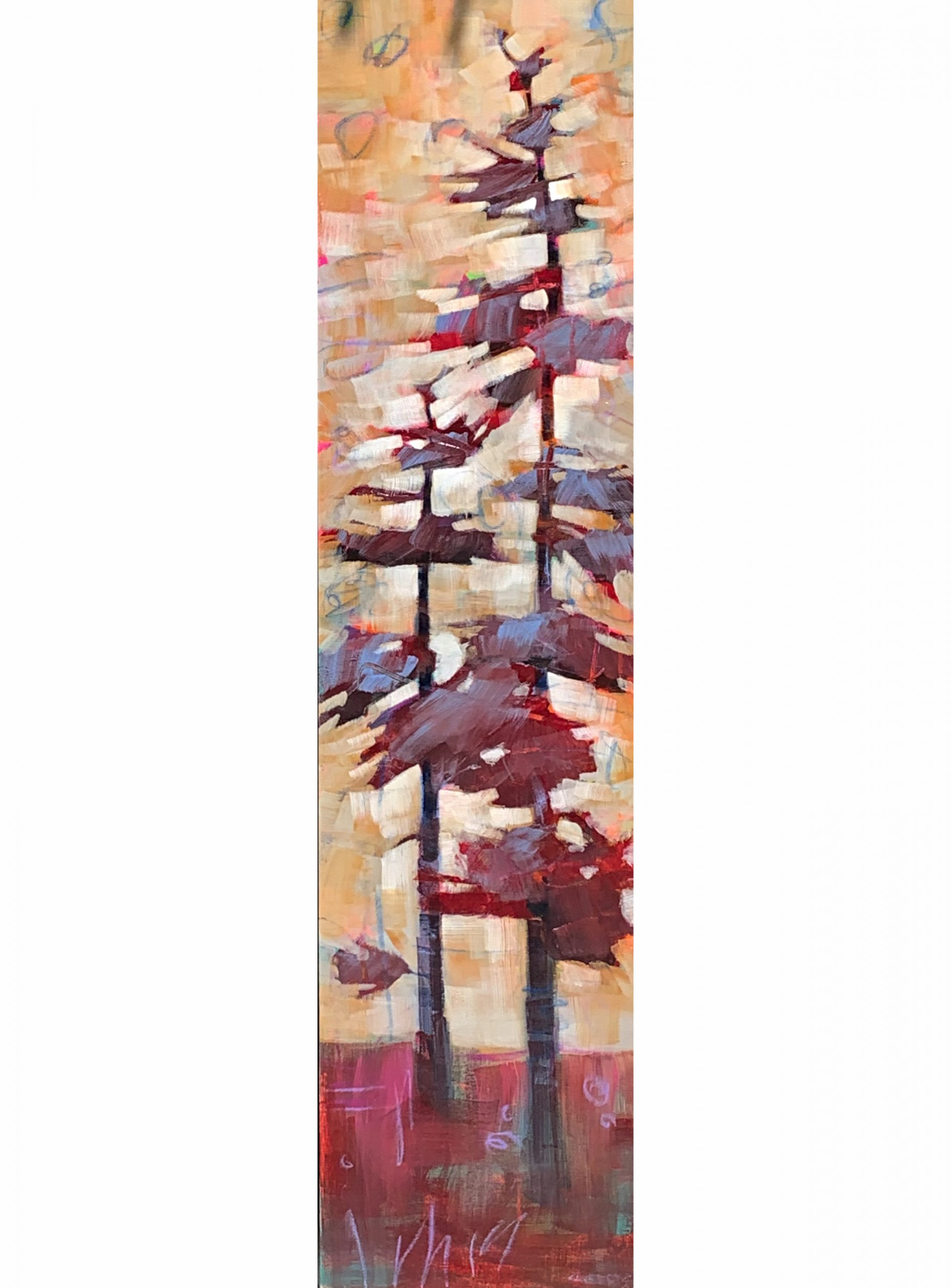 Coming Change, mixed media tree painting by Connie Geerts | Effusion Art Gallery + Cast Glass Studio, Invermere BC