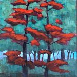 Cool Shade, mixed media tree painting by Connie Geerts | Effusion Art Gallery + Cast Glass Studio, Invermere BC