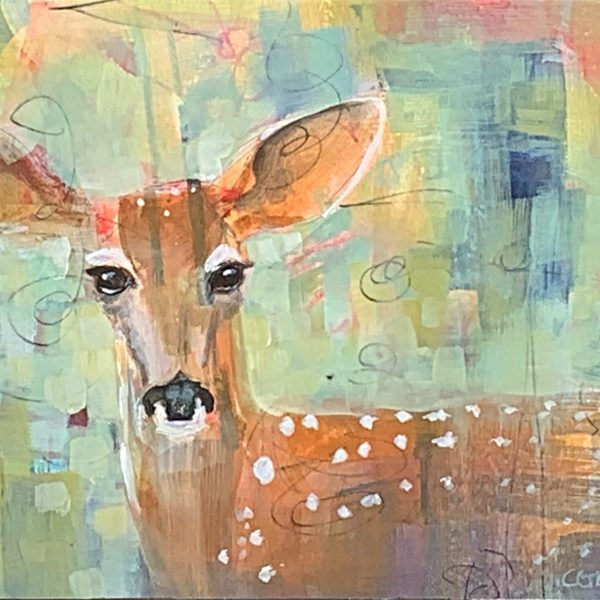 Encounters with Spirit, mixed media deer painting by Connie Geerts | Effusion Art Gallery + Cast Glass Studio, Invermere BC