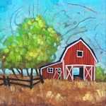 Fixer Upper, acrylic barn painting by Connie Geerts | Effusion Art Gallery + Cast Glass Studio, Invermere BC