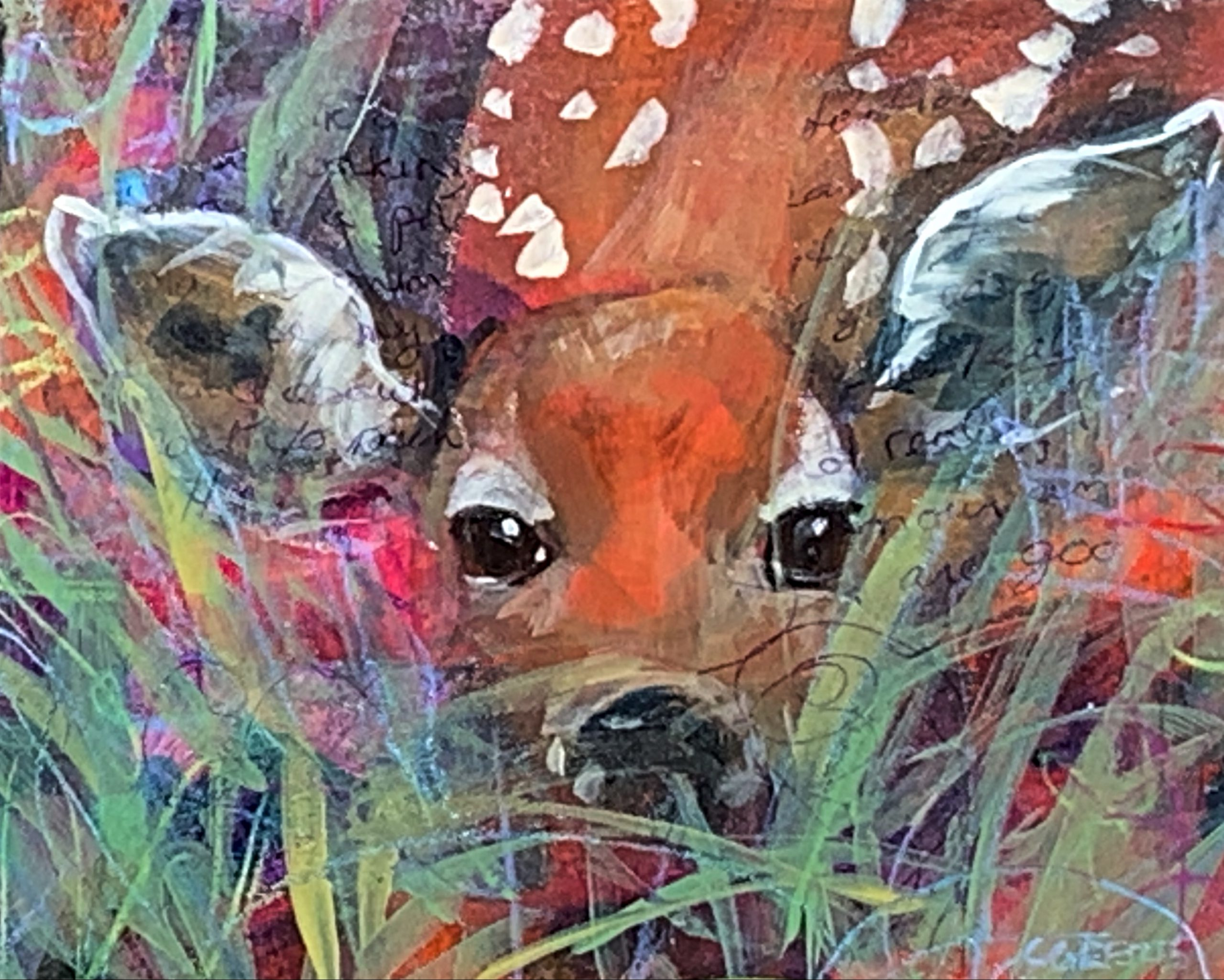 Hiding in the Grass, mixed media fawn painting by Connie Geerts | Effusion Art Gallery + Cast Glass Studio, Invermere BC