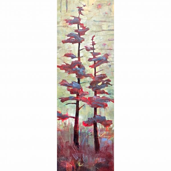 In Good Company, mixed media tree painting by Connie Geerts | Effusion Art Gallery + Cast Glass Studio, Invermere BC