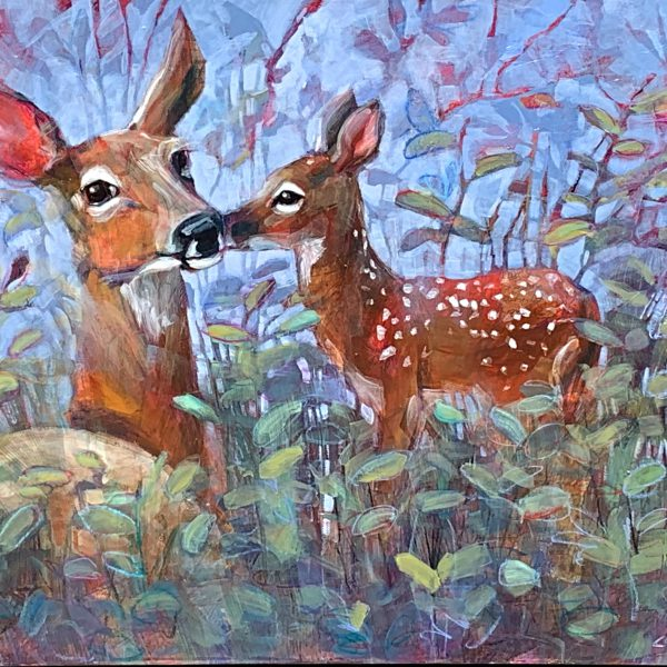 Life is Sweet, mixed media deer and fawn painting by Connie Geerts | Effusion Art Gallery + Cast Glass Studio, Invermere BC