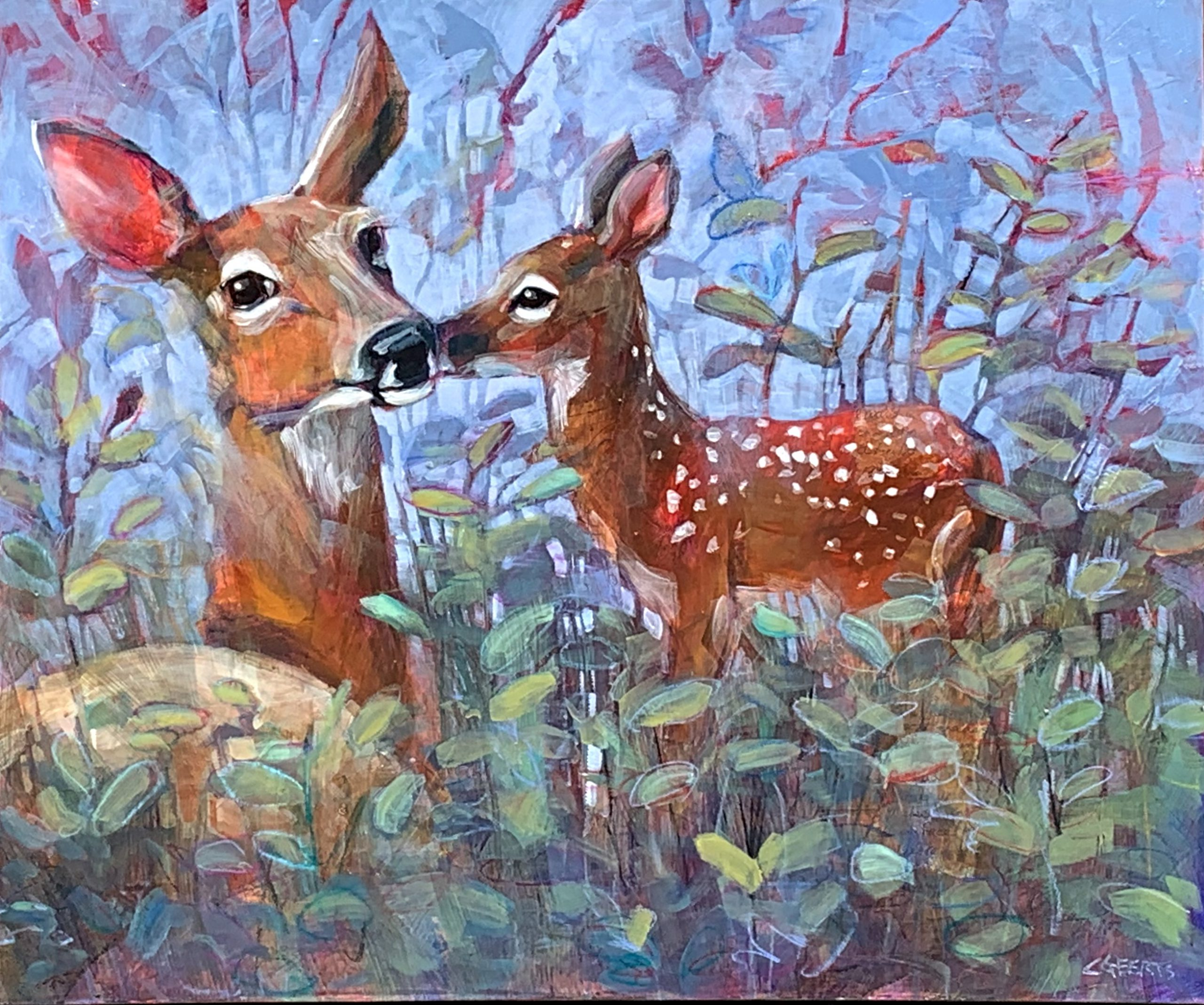 Life is Sweet, mixed media deer and fawn painting by Connie Geerts   Effusion Art Gallery + Cast Glass Studio, Invermere BC