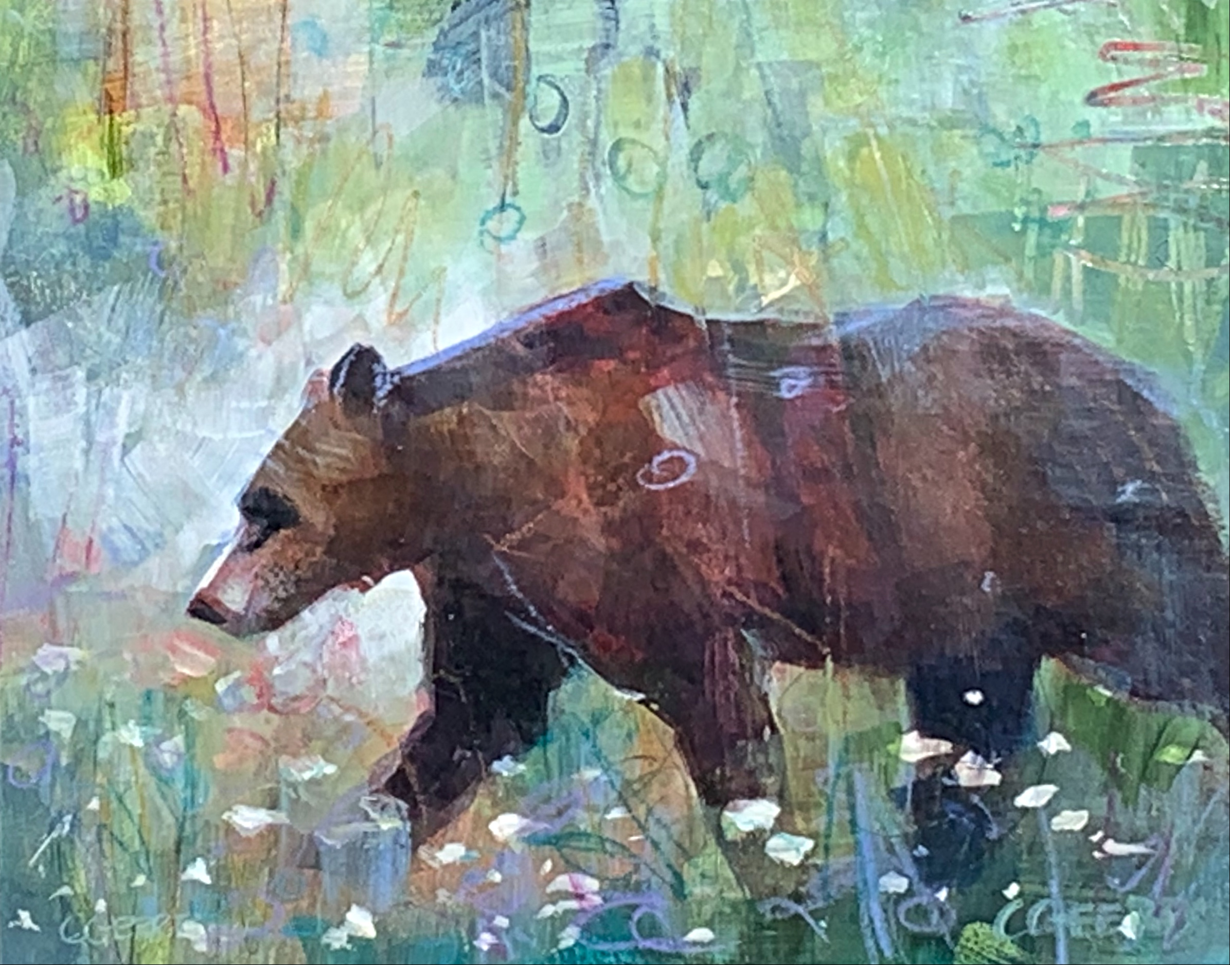 Minding her own Business, mixed media bear painting by Connie Geerts | Effusion Art Gallery + Cast Glass Studio, Invermere BC
