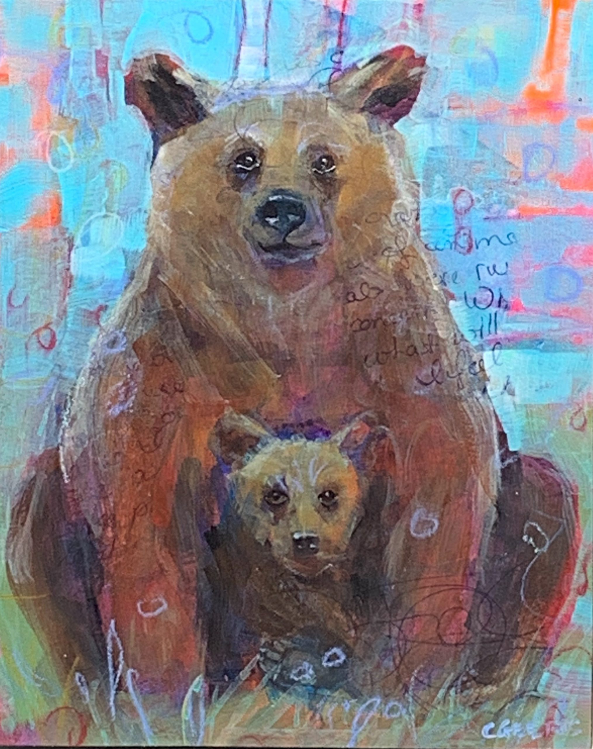 Momma Bear, mixed media bear painting by Connie Geerts | Effusion Art Gallery + Cast Glass Studio, Invermere BC