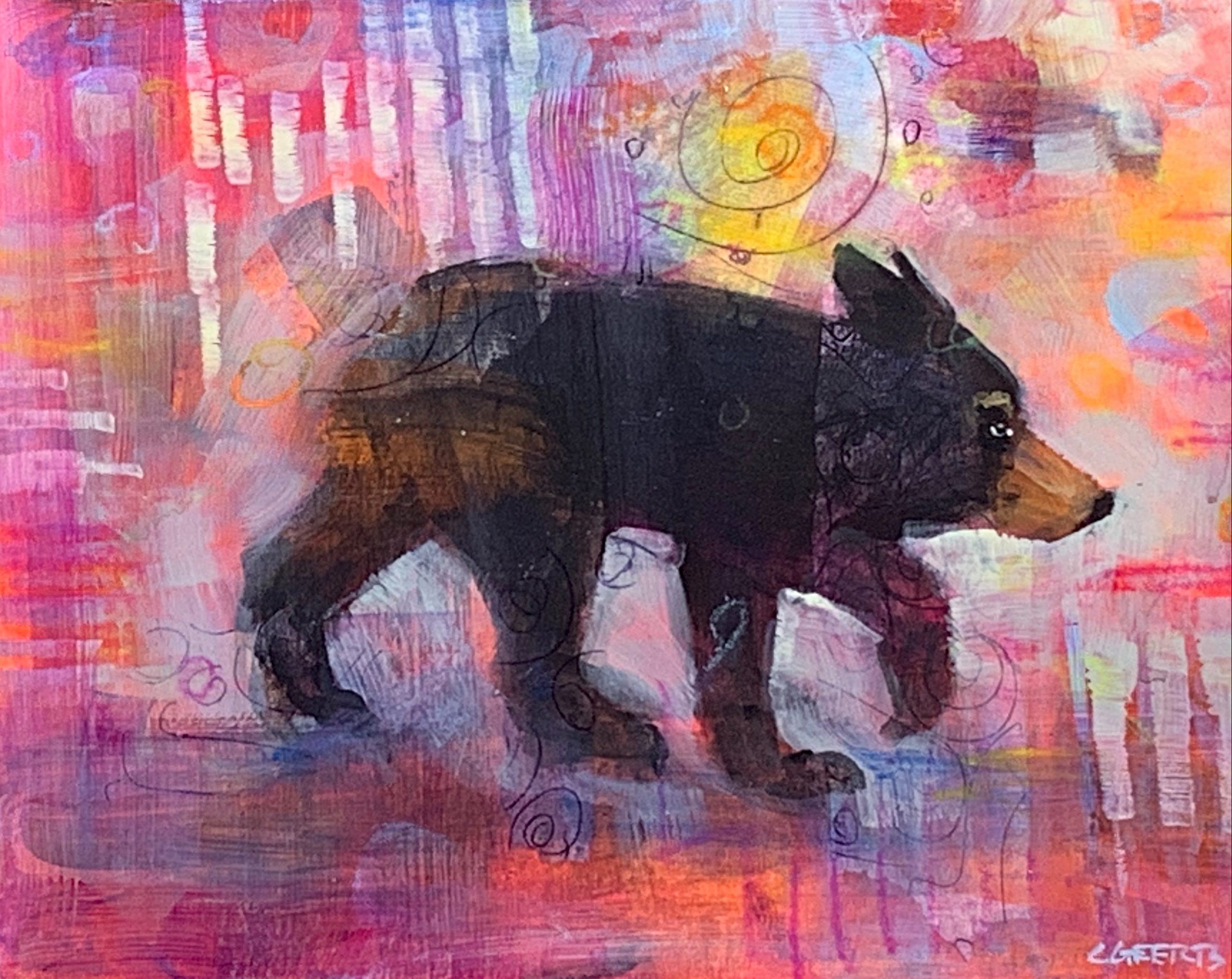 Places to be, mixed media bear painting by Connie Geerts | Effusion Art Gallery + Cast Glass Studio, Invermere BC