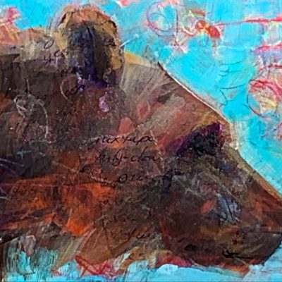 Ursa Major, mixed media bear painting by Connie Geerts   Effusion Art Gallery + Cast Glass Studio, Invermere BC