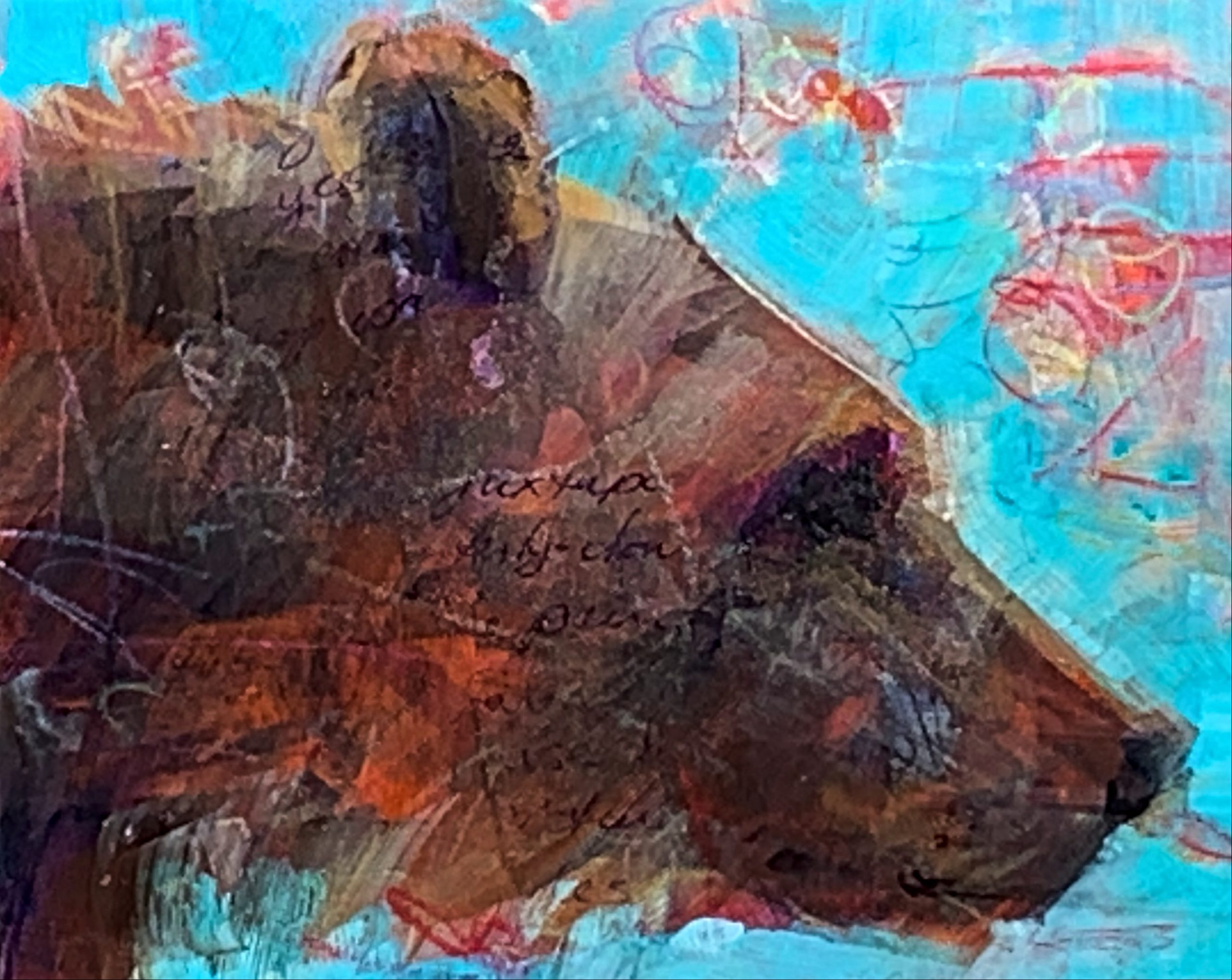 Ursa Major, mixed media bear painting by Connie Geerts | Effusion Art Gallery + Cast Glass Studio, Invermere BC