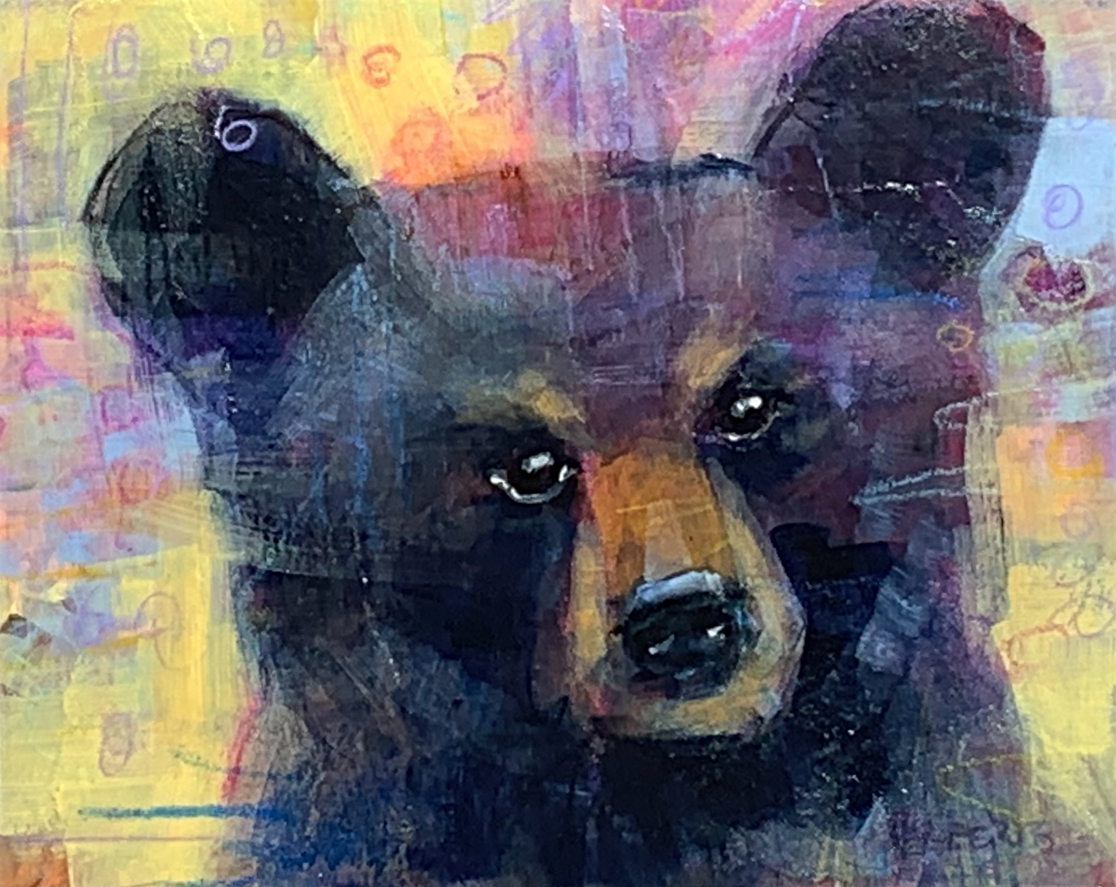 Wonder, mixed media bear painting by Connie Geerts | Effusion Art Gallery + Cast Glass Studio, Invermere BC