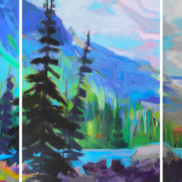 Color Me Happy, acrylic landscape by Becky Holuk   Effusion Art Gallery + Cast Glass Studio, Invermere BC