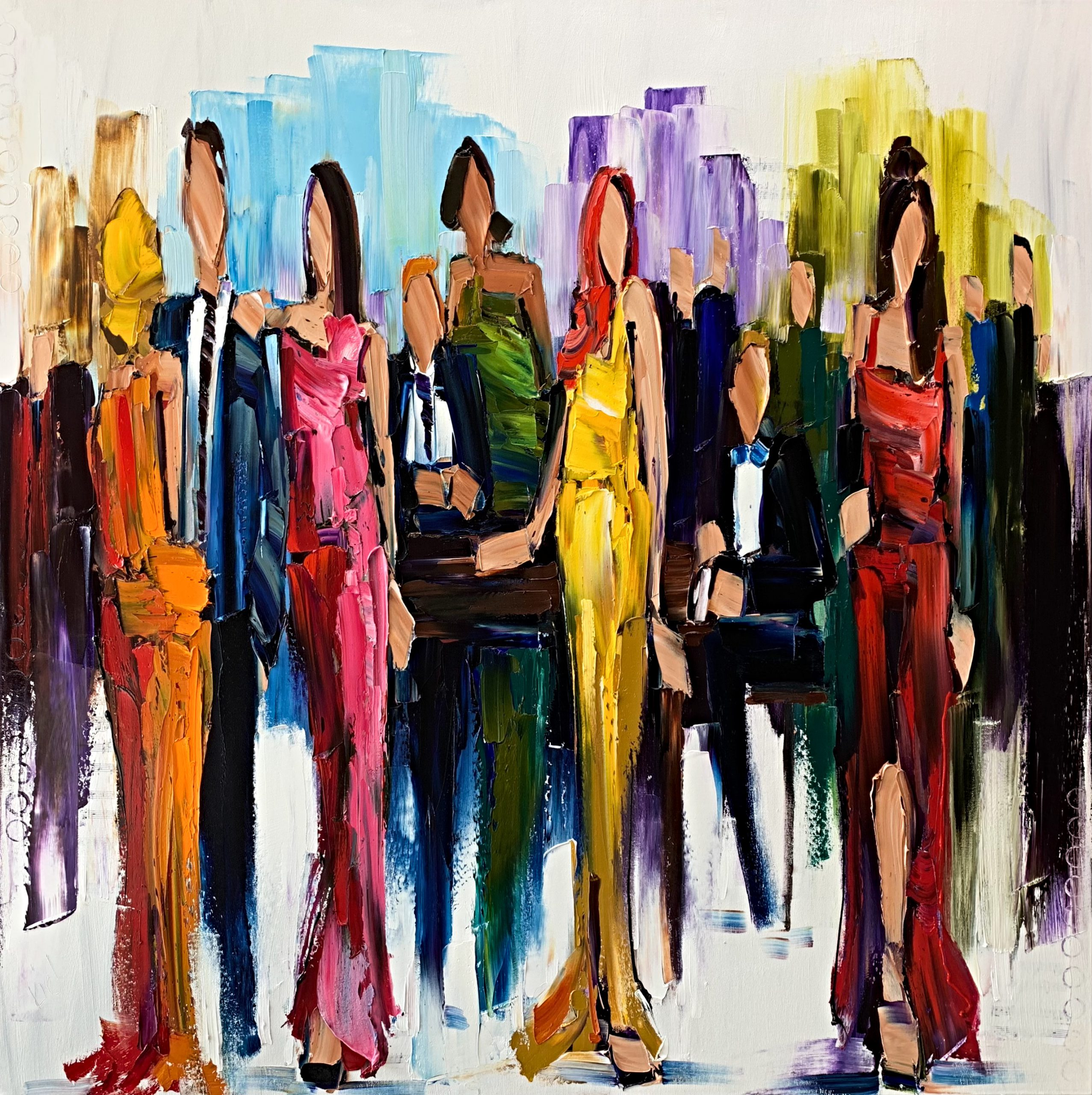 Come and go like Fashion, oil cocktail party painting by Kimberly Kiel   Effusion Art Gallery + Cast Glass Studio, Invermere BC