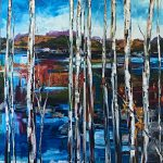 Follow My Tracks, oil landscape painting by Kimberly Kiel   Effusion Art Gallery + Cast Glass Studio, Invermere BC