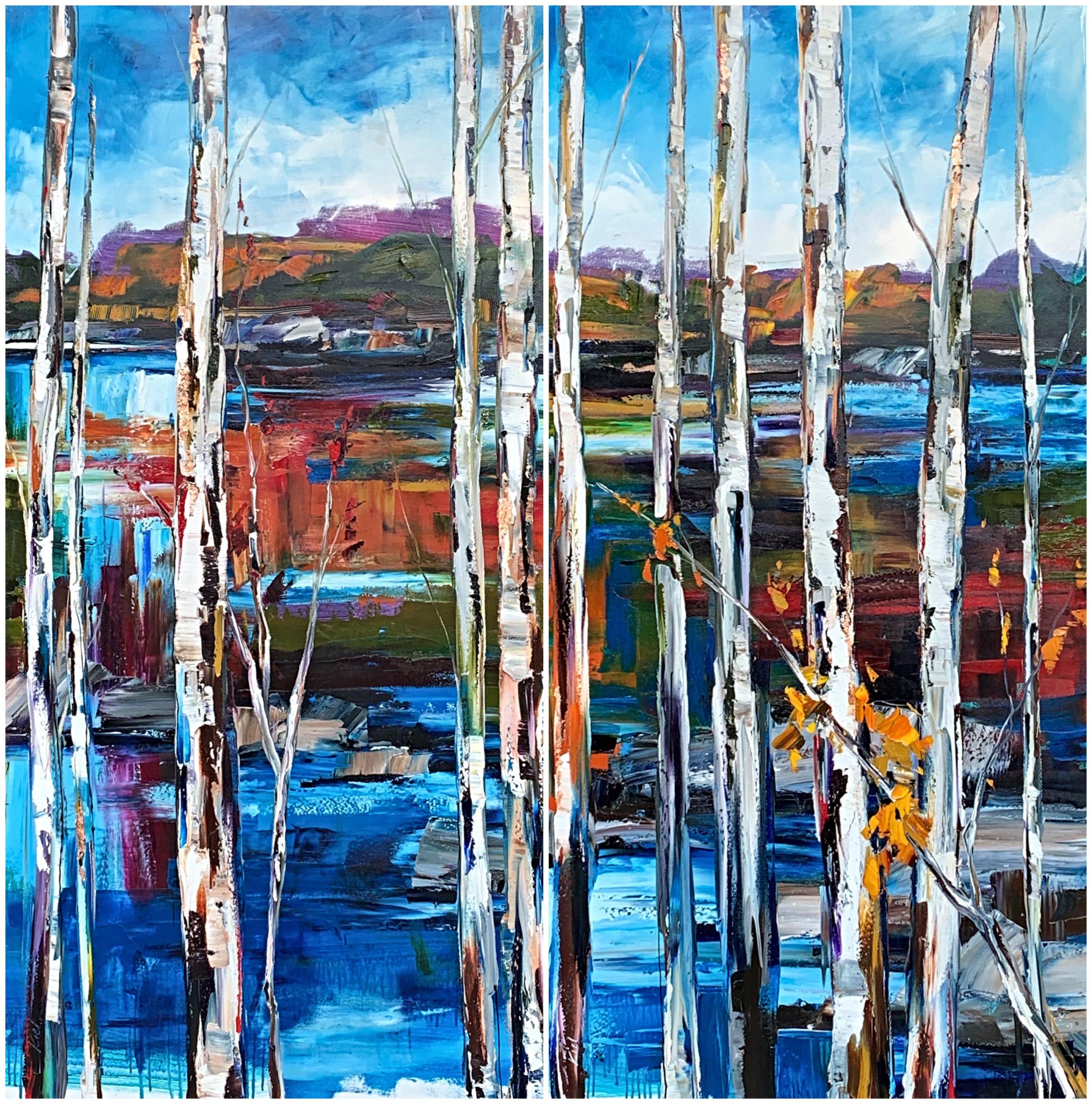 Follow My Tracks 2 + 3, mixed media landscape painting by Kimberly Kiel | Effusion Art Gallery + Cast Glass Studio, Invermere BC