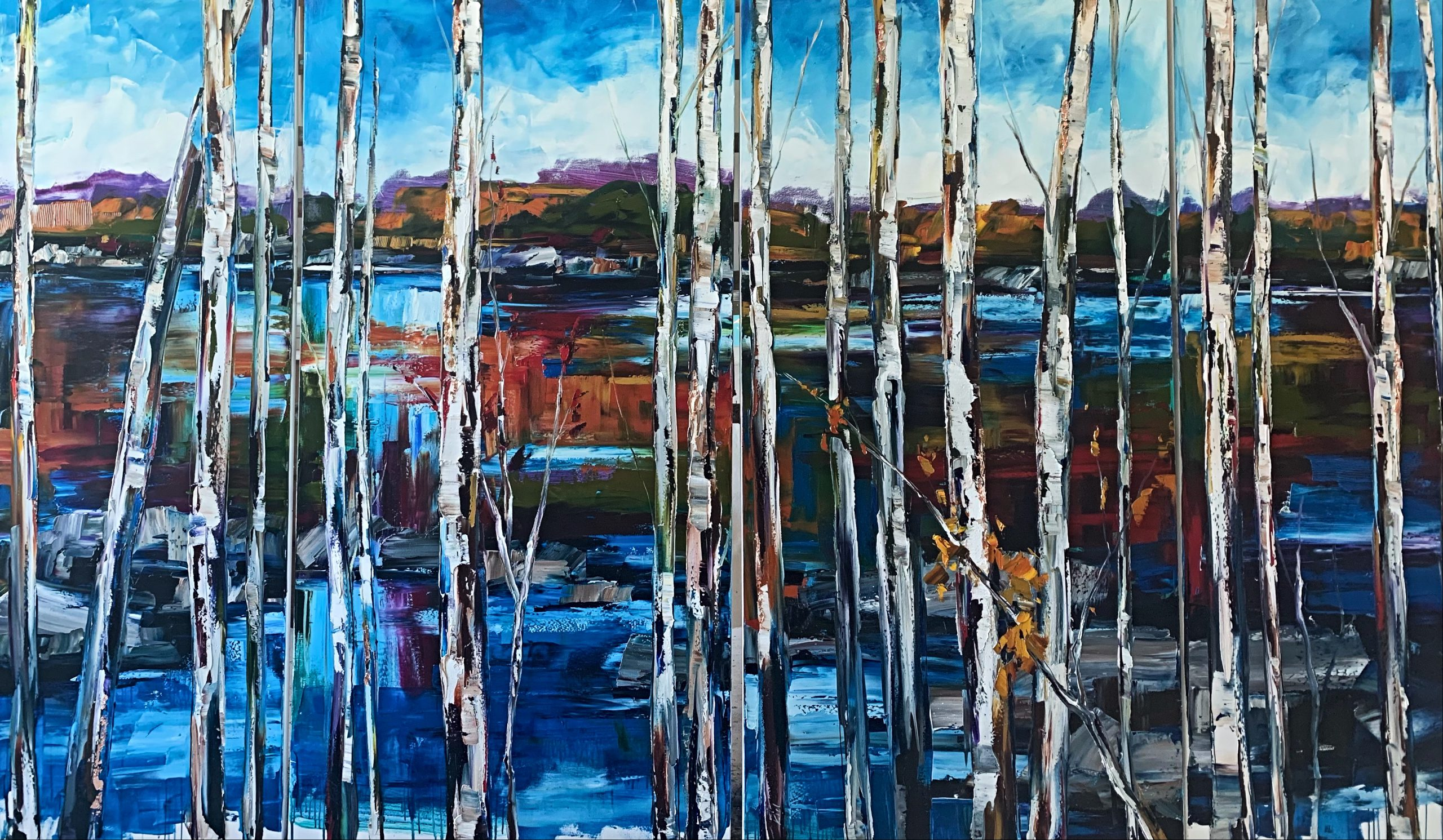 Follow My Tracks, oil landscape painting by Kimberly Kiel | Effusion Art Gallery + Cast Glass Studio, Invermere BC
