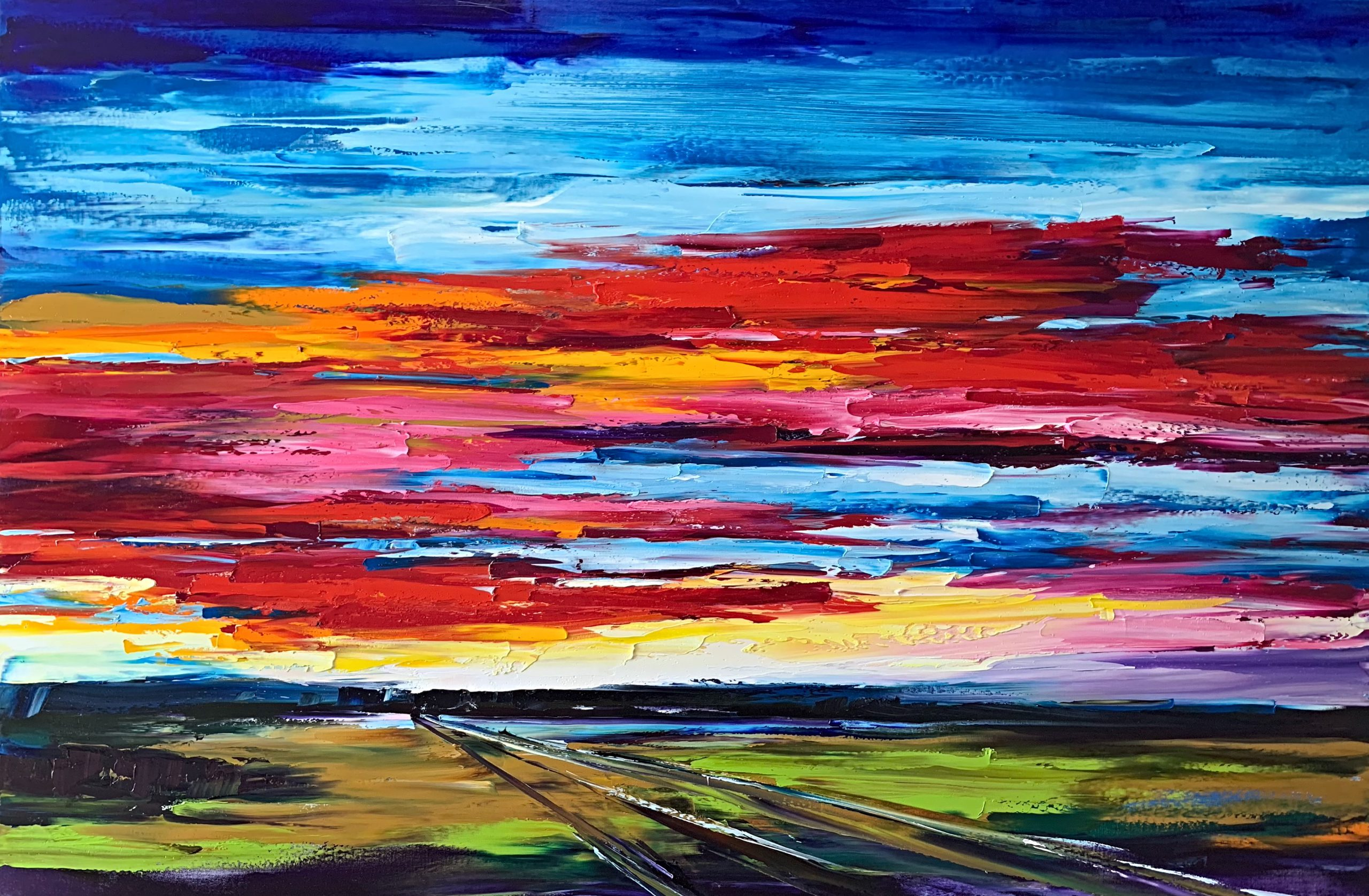 On the Road to Find Out, oil landscape painting by Kimberly Kiel   Effusion Art Gallery + Cast Glass Studio, Invermere BC