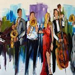 Turn it up Loud, oil musical band painting by Kimberly Kiel   Effusion Art Gallery + Cast Glass Studio, Invermere BC