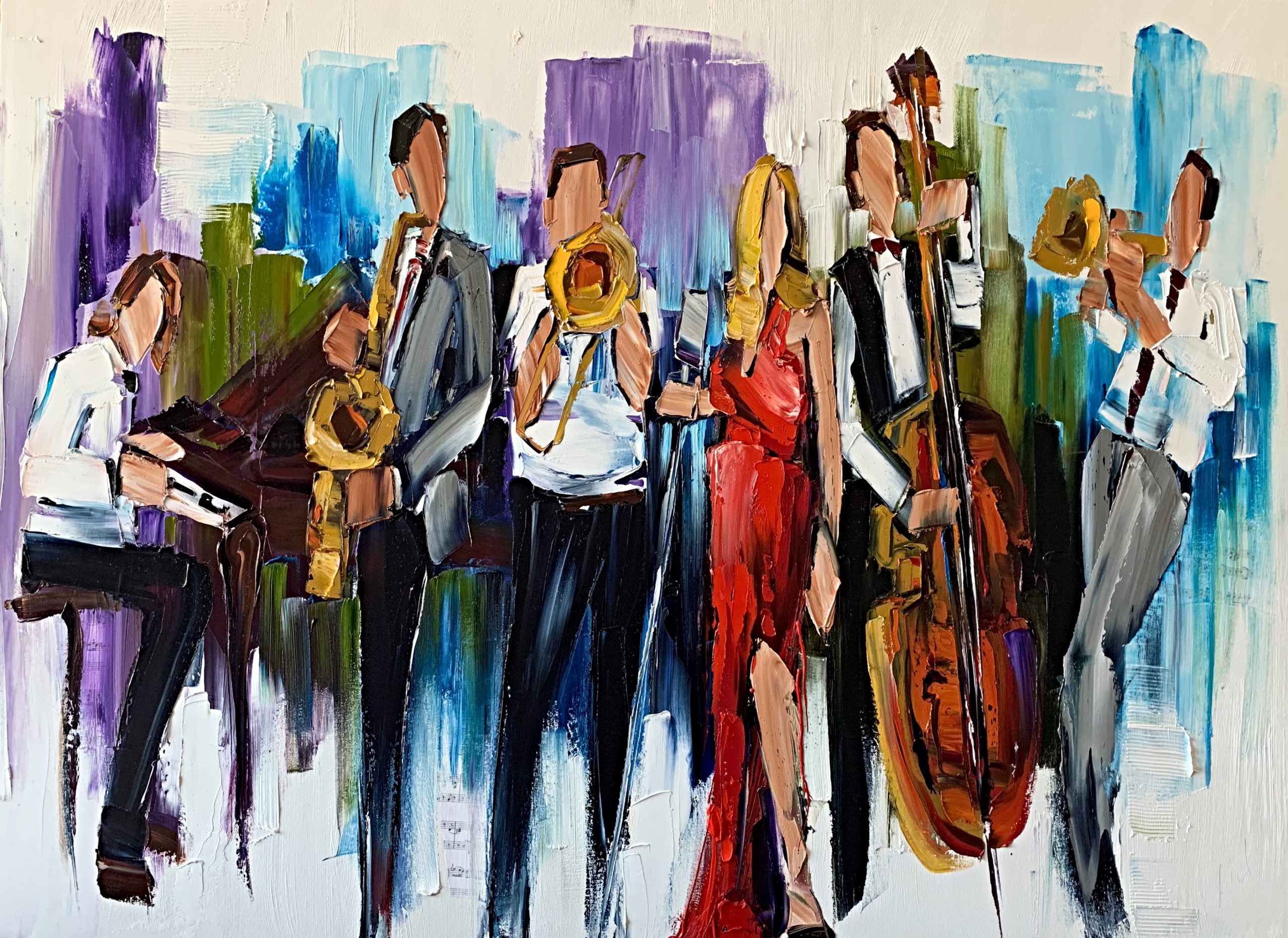 Turn it up Loud, oil musical band painting by Kimberly Kiel | Effusion Art Gallery + Cast Glass Studio, Invermere BC