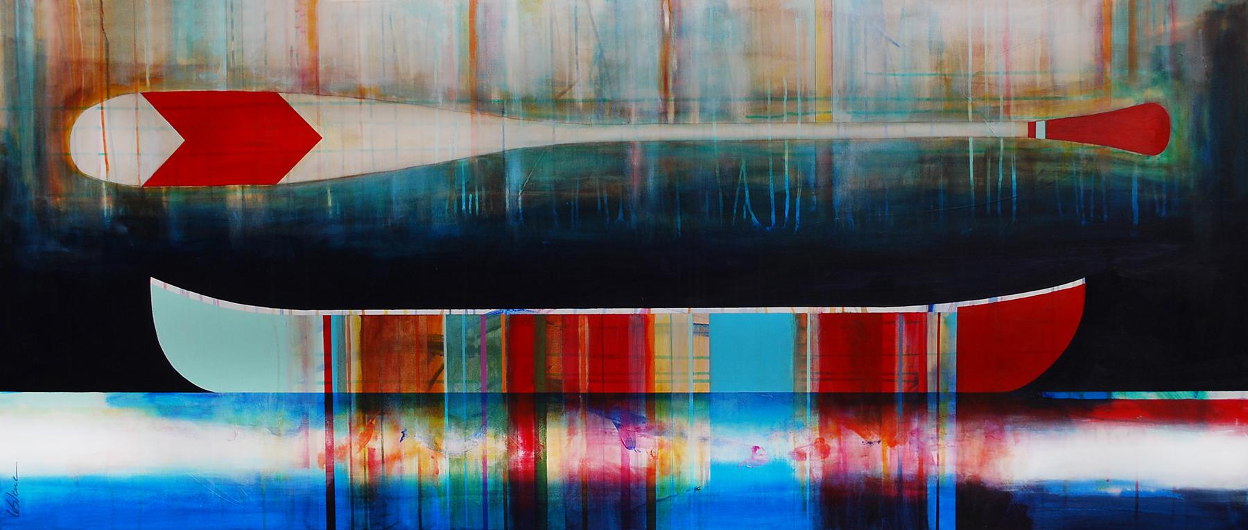 Jamais dire jamais, mixed media canoe painting by Sylvain Leblanc | Effusion Art Gallery + Cast Glass Studio, Invermere BC