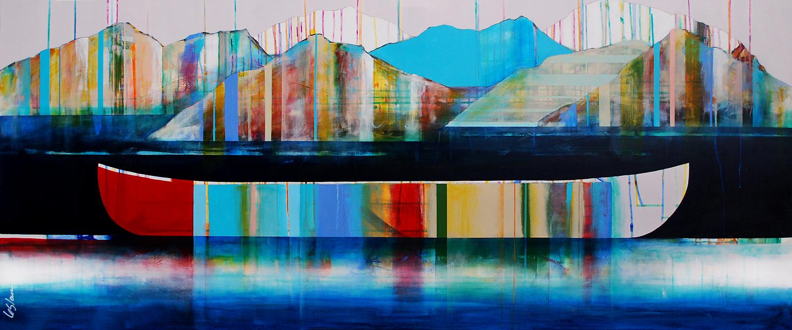 Paysage grandiose, mixed media canoe painting by Sylvain Leblanc | Effusion Art Gallery + Cast Glass Studio, Invermere BC