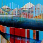 Tout prêt du but, mixed media canoe painting by Sylvain Leblanc | Effusion Art Gallery + Cast Glass Studio, Invermere BC