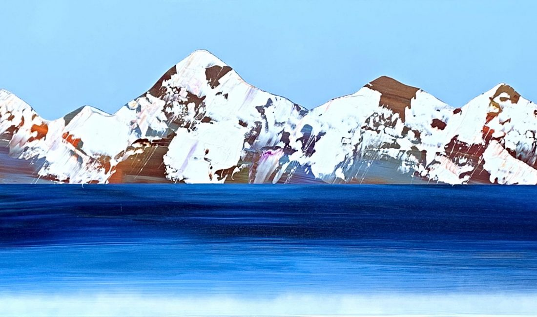 Rocheuses 621, acrylic mountain landscape by Stephanie Rivet   Effusion Art Gallery + Cast Glass Studio, Invermere BC