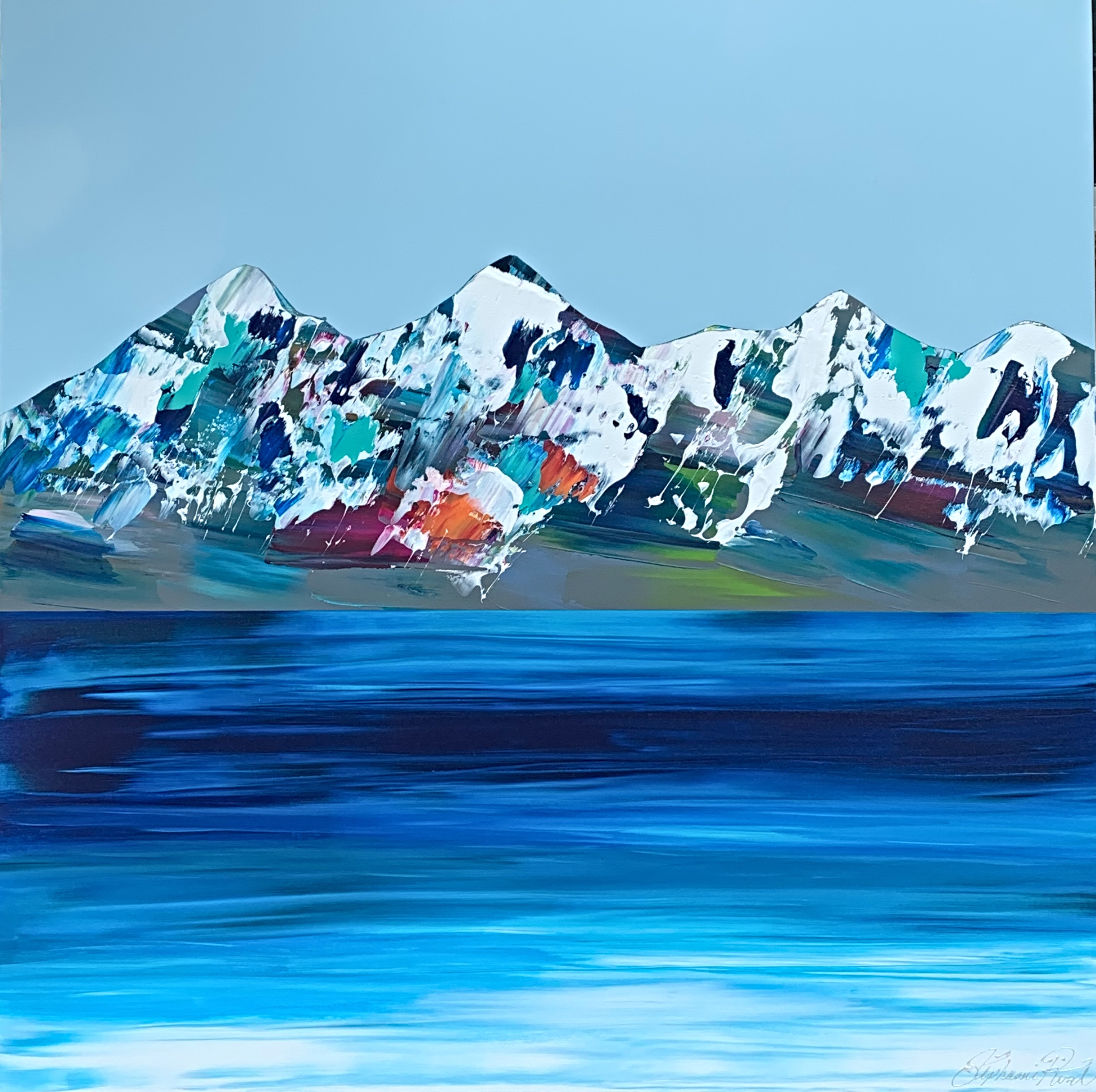 Rocheuses 721, acrylic landscape painting by Stephanie Rivet   Effusion Art Gallery + Cast Glass Studio, Invermere BC
