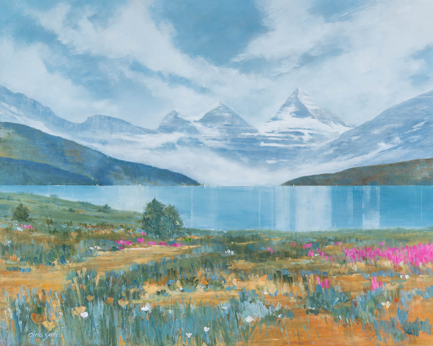 Quiet Echoes, acrylic landscape by Gina Sarro | Effusion Art Gallery + Cast Glass Studio, Invermere BC