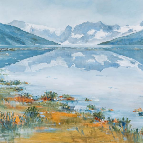 Silent Reflection, acrylic landscape by Gina Sarro   Effusion Art Gallery + Cast Glass Studio, Invermere BC