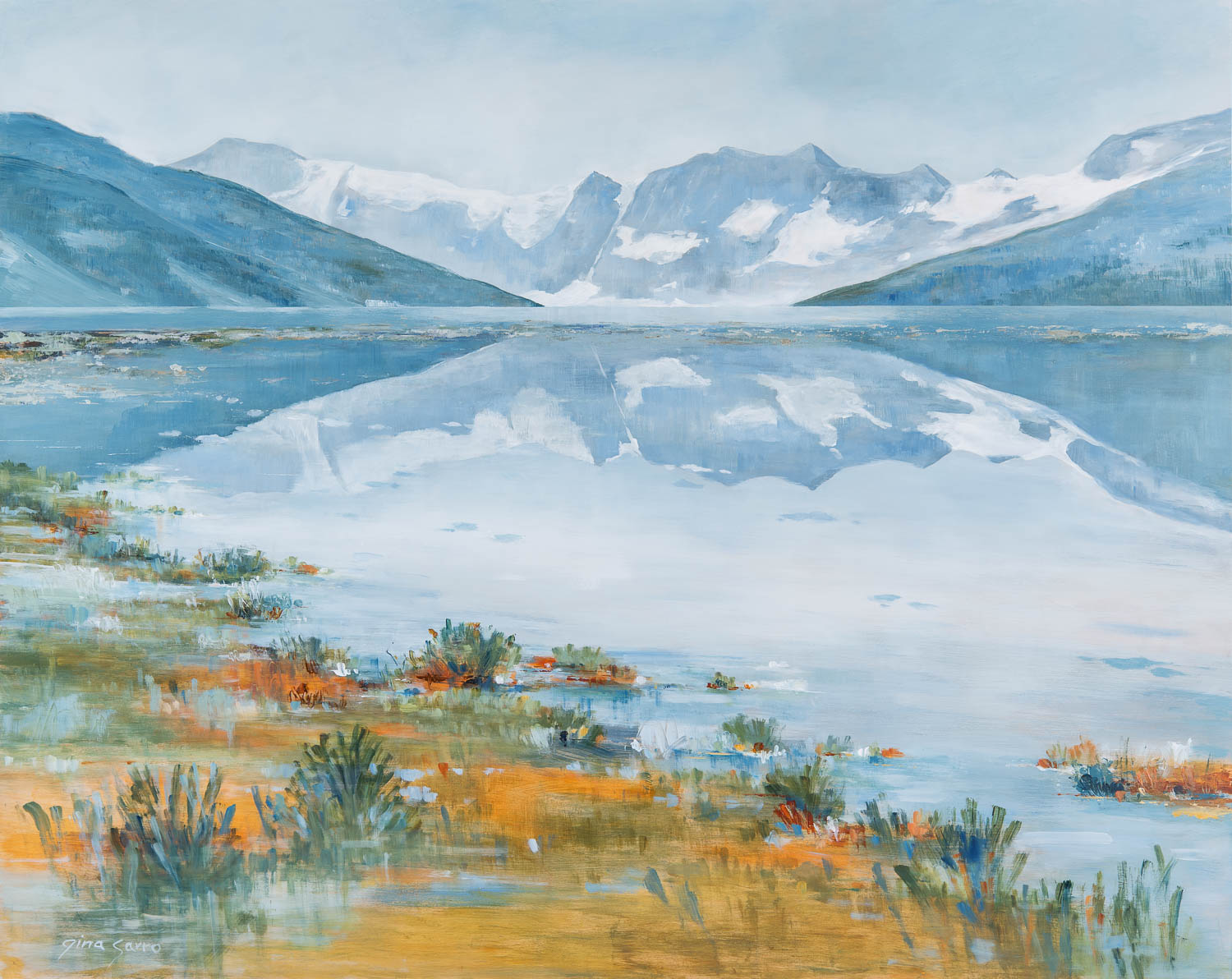 Silent Reflection, acrylic landscape by Gina Sarro | Effusion Art Gallery + Cast Glass Studio, Invermere BC