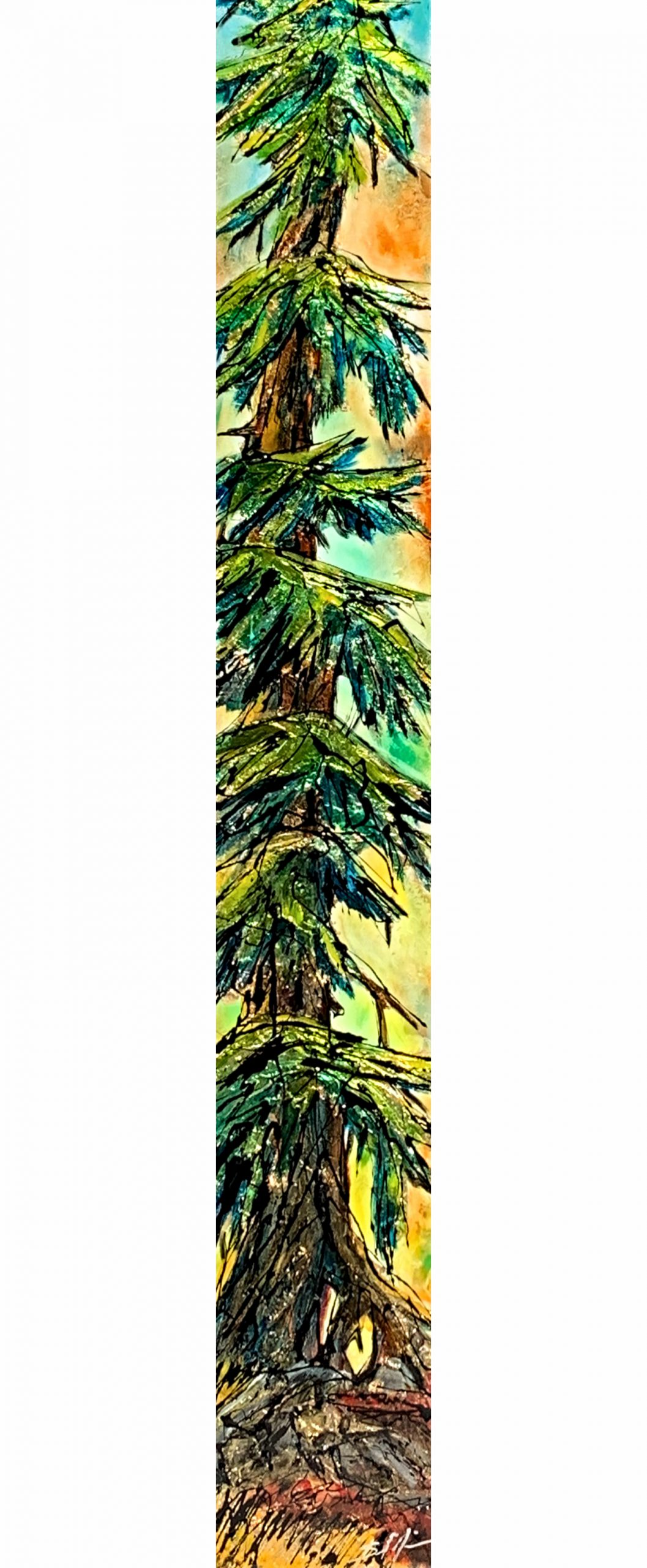 It is, mixed media tree painting by David Zimmerman | Effusion Art Gallery + Cast Glass Studio, Invermere BC