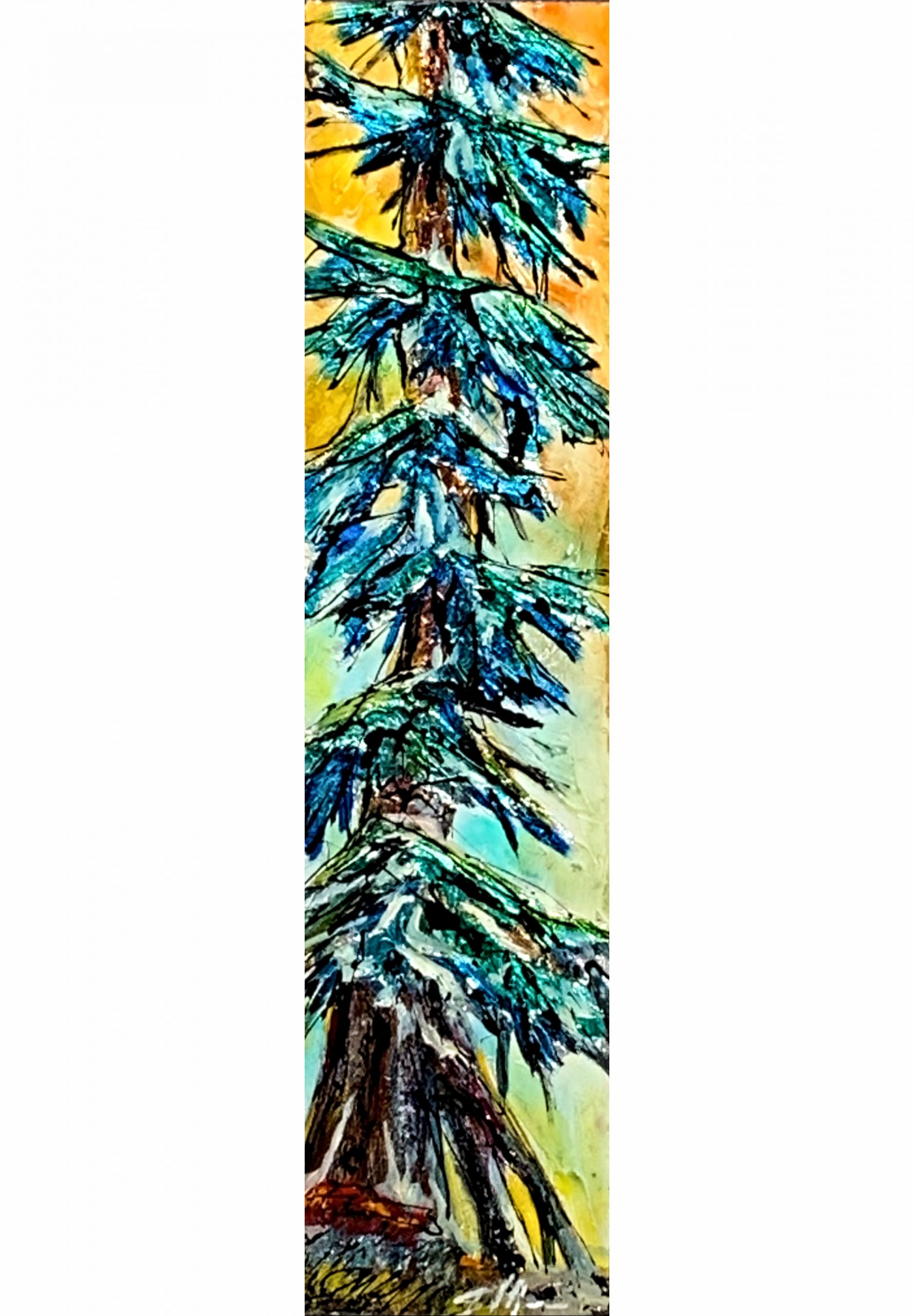 Places that are, mixed media tree painting by David Zimmerman | Effusion Art Gallery + Cast Glass Studio, Invermere BC