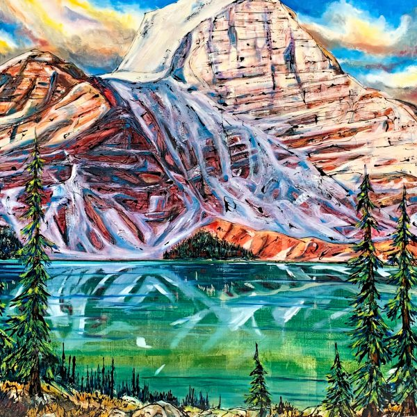 Prized Possession, mixed media landscape painting by David Zimmerman   Effusion Art Gallery + Cast Glass Studio, Invermere BC