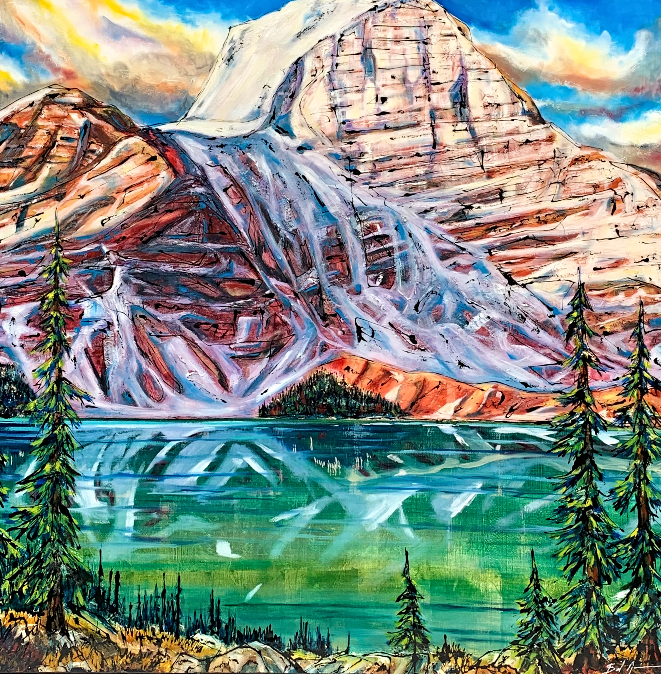 Prized Possession, mixed media landscape painting by David Zimmerman | Effusion Art Gallery + Cast Glass Studio, Invermere BC