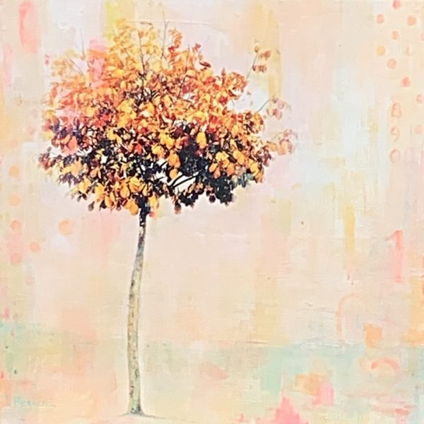 She Comes in Colours, mixed media tree painting by Lori Bagneres | Effusion Art Gallery + Cast Glass Studio, Invermere BC