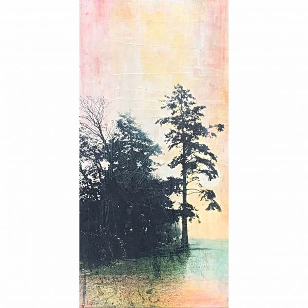 The Cedar and the Harvest Moon, mixed media landscape painting by Lori Bagneres | Effusion Art Gallery + Cast Glass Studio, Invermere BC