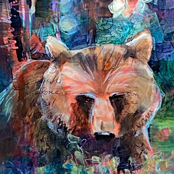 Looking for Berries, mixed media bear painting by Connie Geerts | Effusion Art Gallery + Cast Glass Studio, Invermere BC