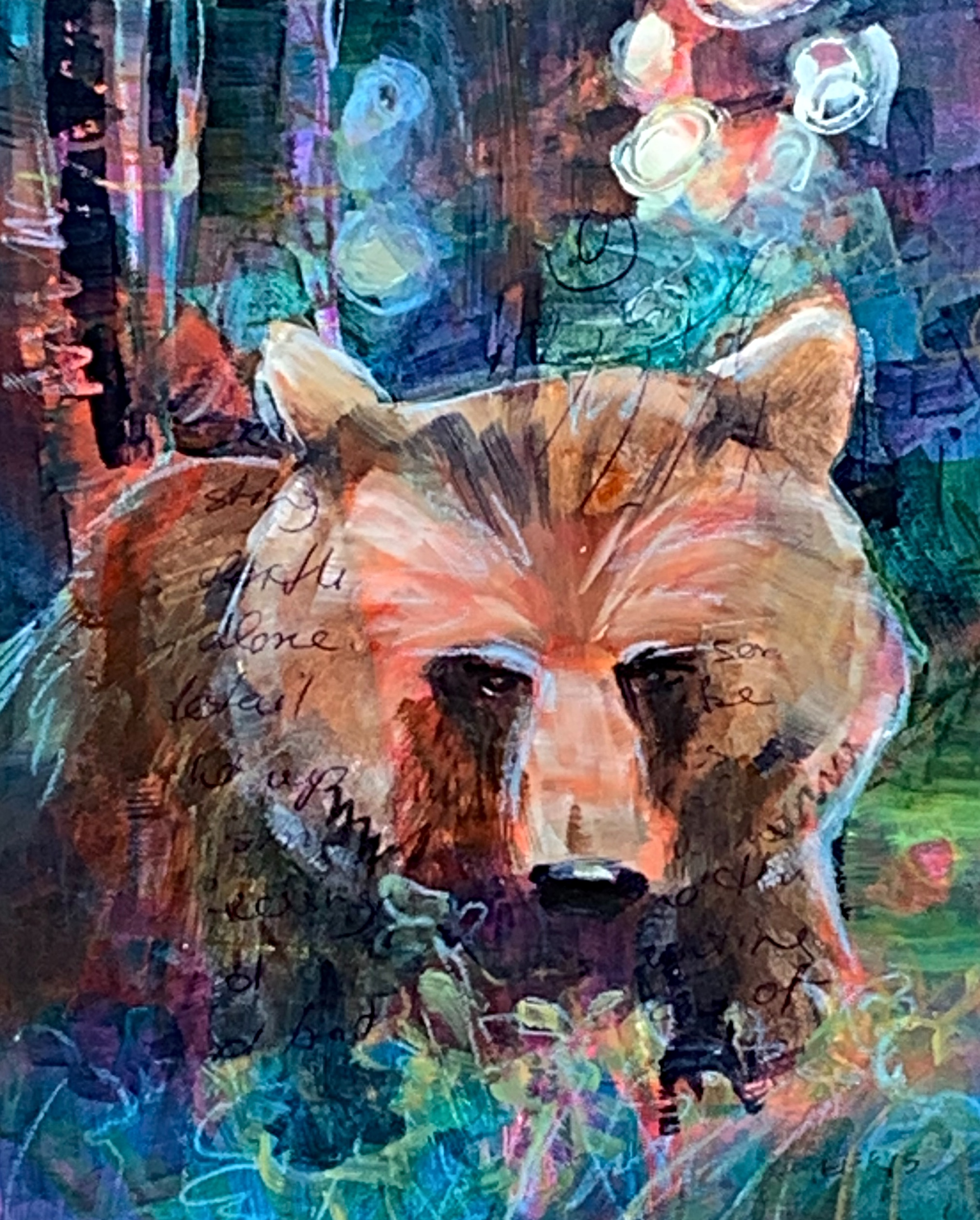 Looking for Berries, mixed media bear painting by Connie Geerts   Effusion Art Gallery + Cast Glass Studio, Invermere BC