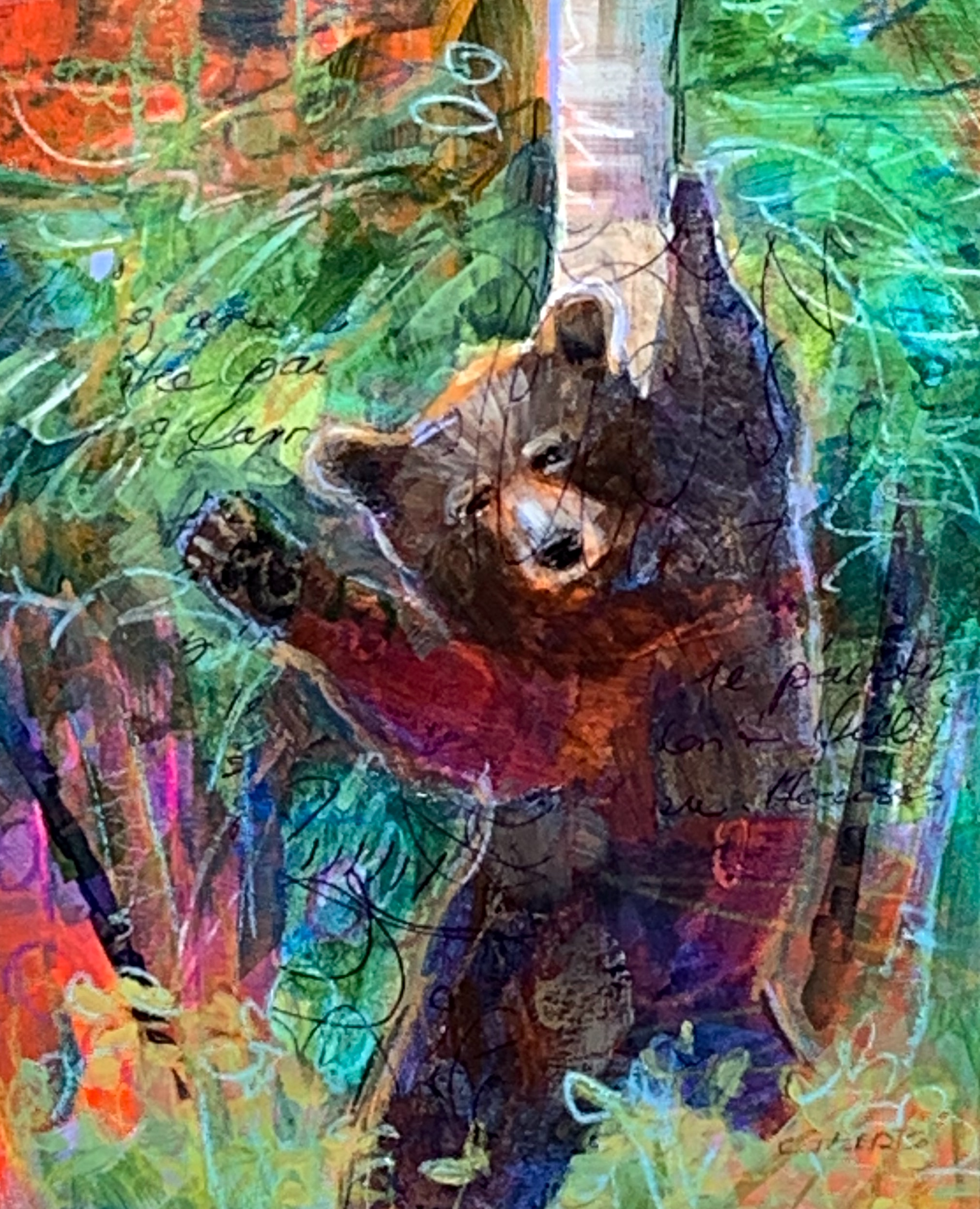 Pole Dancer, mixed media bear painting by Connie Geerts | Effusion Art Gallery + Cast Glass Studio, Invermere BC