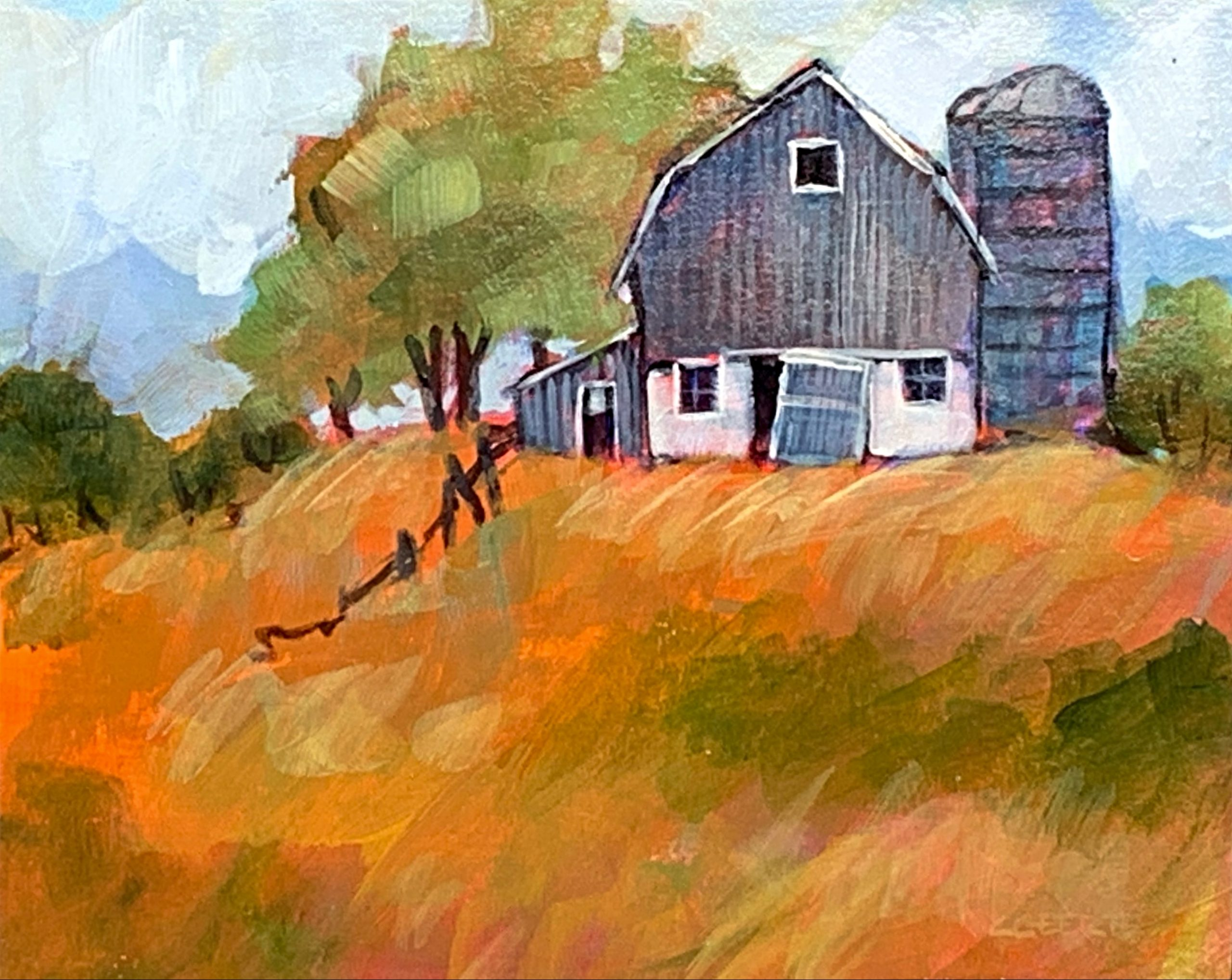 Remember When, acrylic barn painting by Connie Geerts | Effusion Art Gallery + Cast Glass Studio, Invermere BC