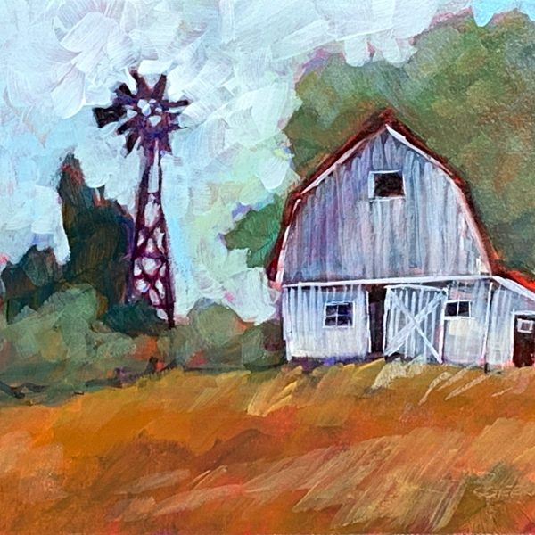 White Barn, acrylic barn painting by Connie Geerts | Effusion Art Gallery + Cast Glass Studio, Invermere BC