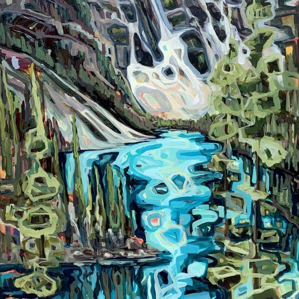 Moraine Lake, acrylic landscape painting by Sandy Kunze   Effusion Art Gallery + Cast Glass Studio, Invermere BC