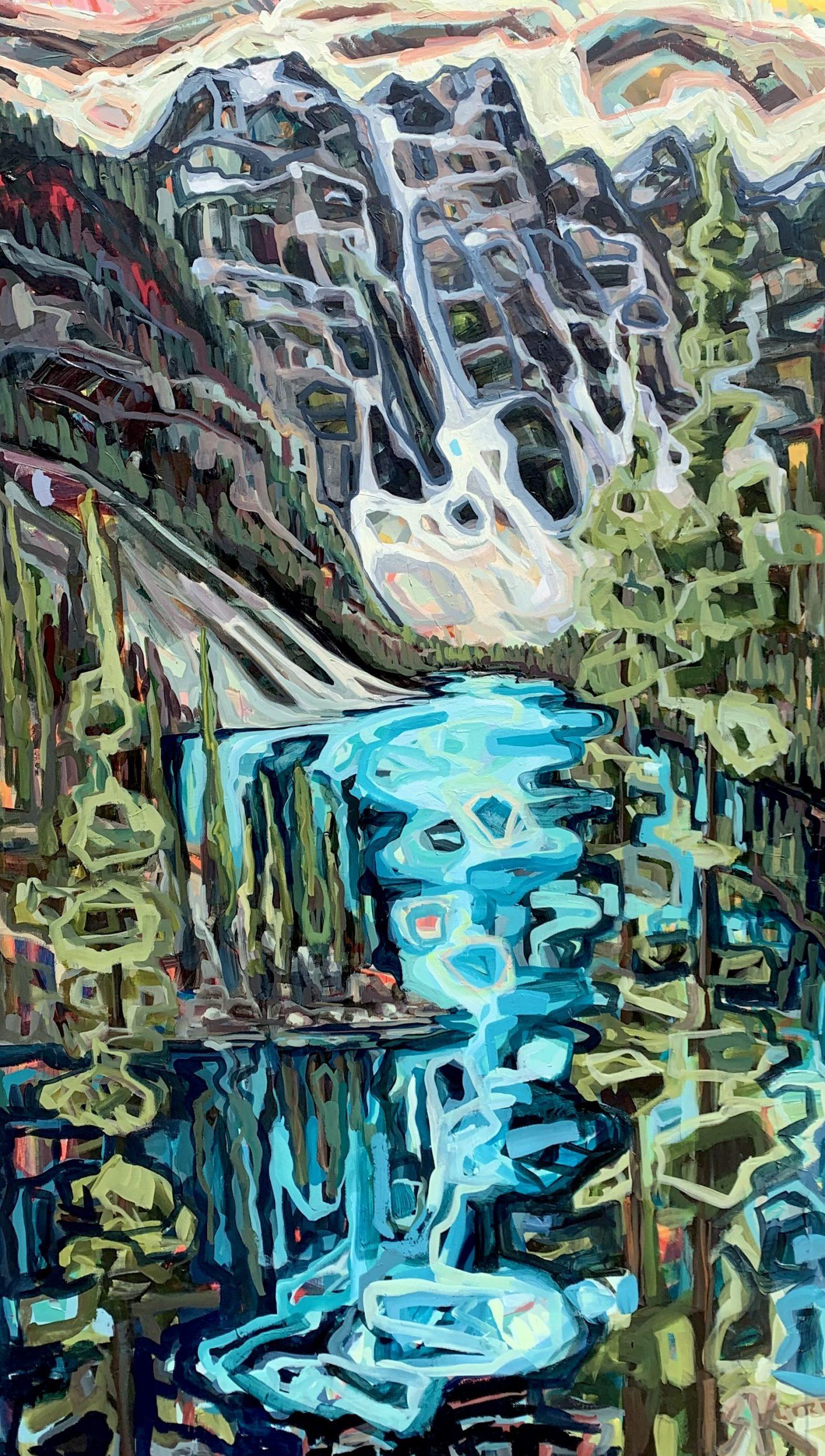Moraine Lake, acrylic landscape painting by Sandy Kunze | Effusion Art Gallery + Cast Glass Studio, Invermere BC