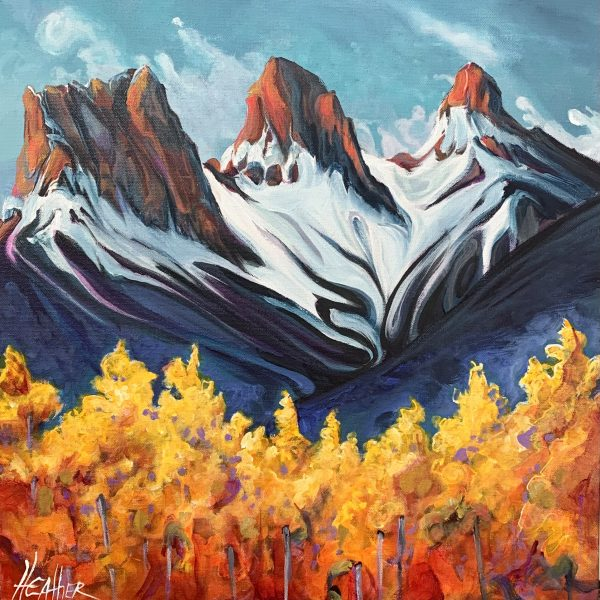 Dance of the Sisters, acrylic landscape by Heather Pant   Effusion Art Gallery + Cast Glass Studio, Invermere BC